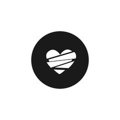 broken heart white icon