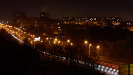 Panorama of the city at night