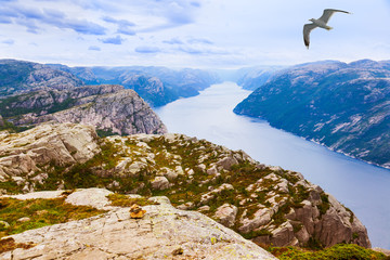 Mountains near the Preachers Pulpit Rock in fjord Lysefjord - No