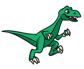 Dinosaur running  cartoon illustration isolated image animal character