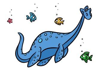 Dinosaur plesiosaur sea cartoon illustration animal character