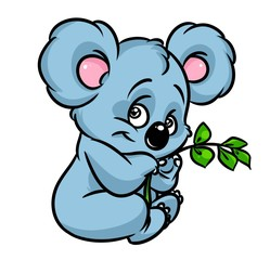 Koala eucalyptus branch cartoon illustration isolated image animal character
