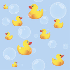 Rubber Ducks Seamless Background with Bubbles
