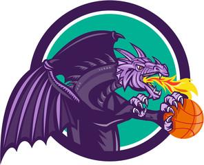 Dragon Fire Holding Basketball Circle Retro