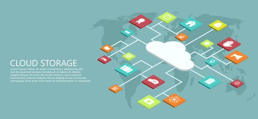vector modern flat isometric cloud storage