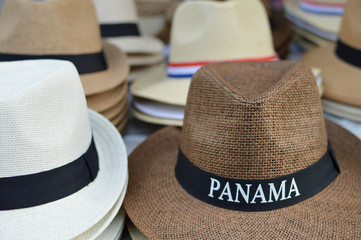 Panama hats sold as souvenirs in Casco Viejo district of Panama City, Panama, Central America