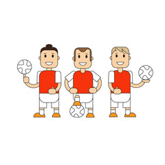 Set soccer Football team players. Vector flat illustration of a football player posing with the ball for baner, cardillustration football player posing with the ball in different team uniforms.