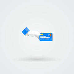 Vector icon with hand holding the coins and credit cards