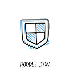 Vector doodle protection icon. Shield, antivirus pictogram.
