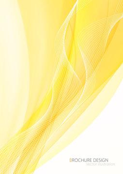 Abstract yellow waves - data stream concept. Vector illustration