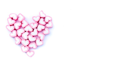 Pink heart love marshmallow for love concept on white background