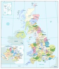 Detailed administrative map of the Great Britain