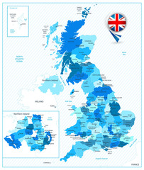 Blue color map of the Great Britain