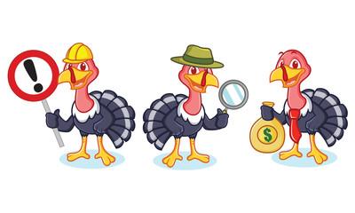Turkey Mascot with money