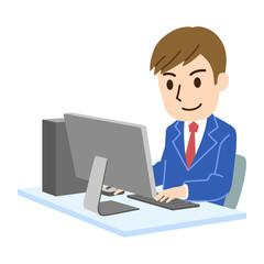 PCと男性社員 笑顔