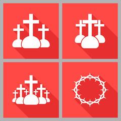 Set of Christian icons flat