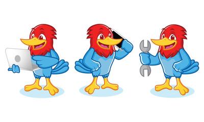 Woodpecker Mascot wit laptop