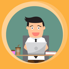 businessman working and happy at his desk. vector illustration.