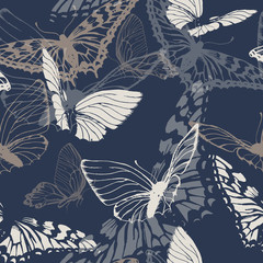Seamless pattern with butterflies. Vector illustration