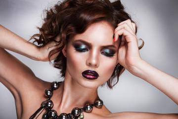 dark hair beauty woman portrait