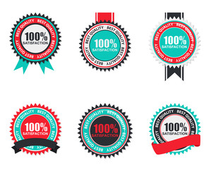 100% Satisfaction Quality Label Set in Flat Modern Design