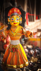 Souvenir Puppets hanging in the street of Nepal