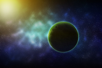 Planet Green In the colorful universe galaxy.