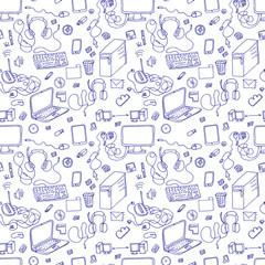 seamless sketch of computer, gadget,