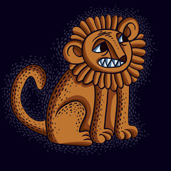 Vector illustration of orange sitting lion with teeth