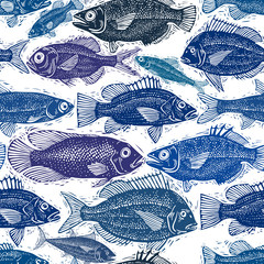 Vector seamless pattern with fishes, different species. Underwater