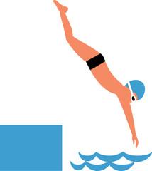 Boy diving into water. Flat design. Vector illustration