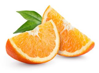 Orange fruit. Slices with leaves isolated on white. Fotoväggar