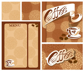 Template designs of menu and business card for coffee house  wit