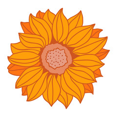 Cartoon sunflower. Icons Vector