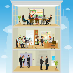 crazy office. working atmosphere in the office. coordinated work in friendly team in the office. open space office building with working people. vector illustration of a flat style.