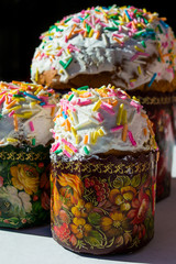 Three Easter kulich vertical