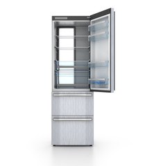 isolated opened empty refrigerator on white background. 3d illus