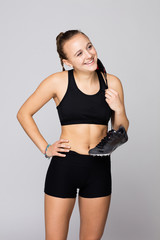 Young caucasian track and field athlete portraits at studio