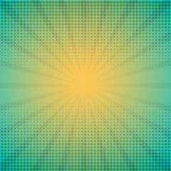 Halftone vector illustration with rays
