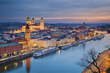 Passau. Passau skyline during twilight blue hour, Bavaria, Germany. Wall mural