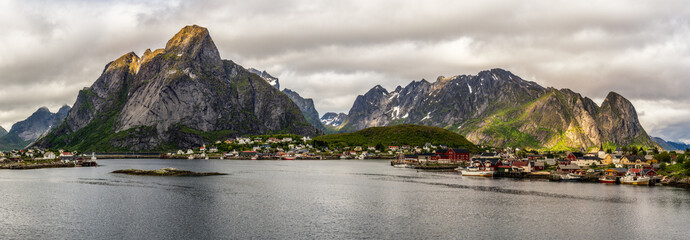 Wall Mural - Mount Olstind and Reine fishing village in Norway
