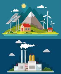 Ecology set. Environment, green energy. Eco life, emissions, nat
