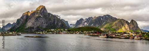 Wall mural Mount Olstind and Reine fishing village in Norway