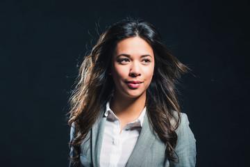 Beauty studio portrait of mixed race girl