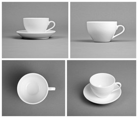 Collection of empty white cups on gray background