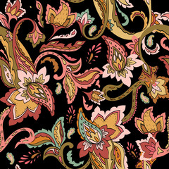 Seamless paisley pattern. Floral decorative indian ornament, for fabric, textile, wrapping, wallpaper, batik. Ornamental stylized decor