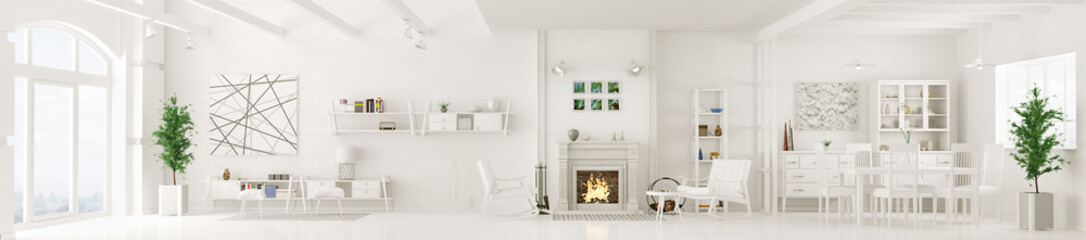 Interior of white living room panorama 3d rendering