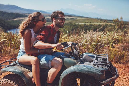 Couple having fun on an off road adventure