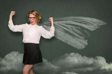 Super hero skinny weak nerdy girl learning education school classroom humor