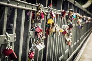 Love locks on the metallic fence